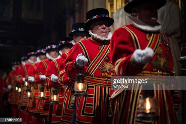 Yeoman of the Guard during the ceremonial search ahead of the State Opening of Parliament by Queen Elizabeth II in the House of Lords at the Palace...
