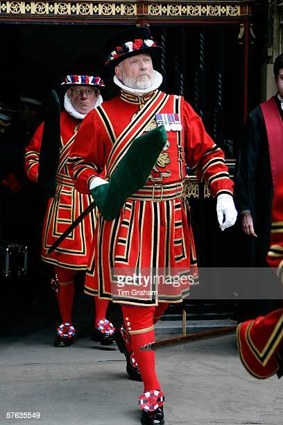 Yeoman of the Guard the Queen's bodyguards leave after attending the Order of the Bath service at Westminster Abbey on May 17 2006 in London The...