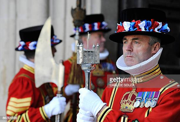 Yeoman Warders are pictured at Westminster Abbey in London on April 28 2009 Britain's Queen Elizabeth II on Tuesday attended a service to commemorate...