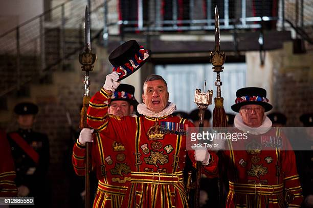 Yeoman Warders 'Beefeaters' parade during the installation of General Sir Nicholas Houghton as the 160th Constable of the Tower of London during a...