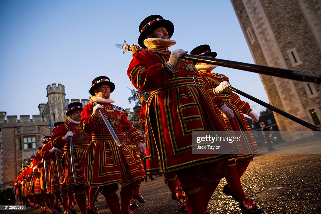 Yeoman Warders 'Beefeaters', parade during the installation of General Sir Nicholas Houghton as the 160th Constable of the Tower of London during a ceremony in front of the White Tower at Tower of London on October 5, 2016 in London, England. The role of Constable, while largely ceremonial, is the most senior appointment at the Tower of London and one of the most ancient offices in England, dating back to around 1078.