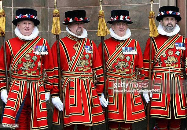 Yeomen of the Guard attend the traditional Maundy Service at St Patrick's Cathedral on March 20 2008 in Armagh City Northern Ireland