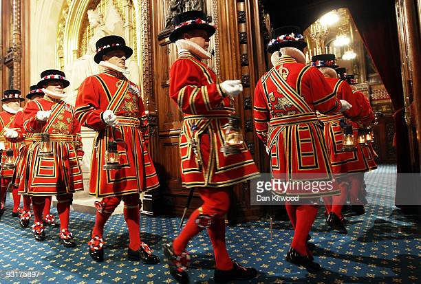 Yeomen of the Guard conduct a ceremonial search at the House of Lords, before the State Opening of Parliament on November 18, 2009 in London. Queen...