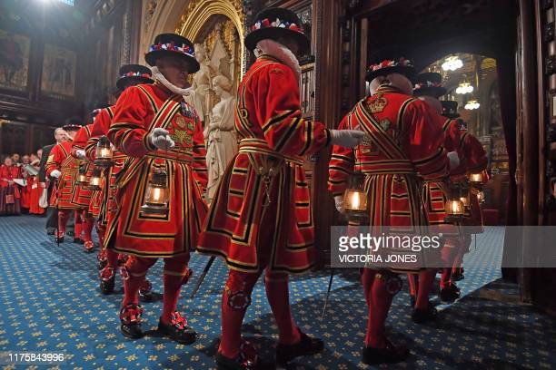 Yeomen of the Guard during the ceremonial search of the Palace of Westminster ahead of the State Opening of Parliament in the Houses of Parliament in...