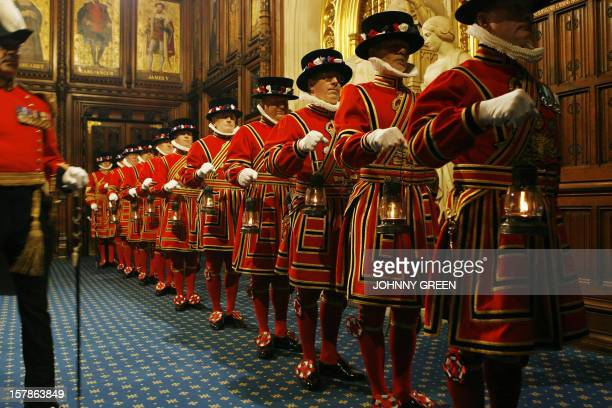 Yeomen of the Guard line up inside the House of Lords in central London, as part of a ceremonial search ahead of the Queen's speech for the State...