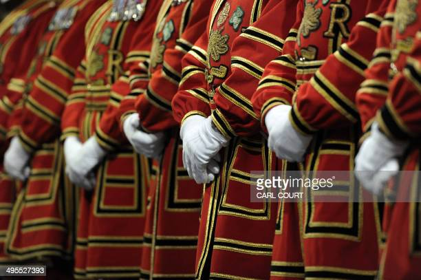 Yeomen of the Guard prepare to conduct the ceremonial search ahead of the State Opening of Parliament at the Palace of Westminster in London on June...