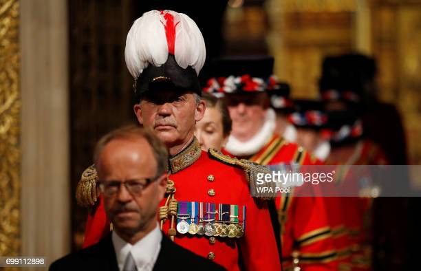 Yeomen of the Guard take part in the traditional ceremonial search in the Peer's Lobby ahead of the State Opening of Parliament by Queen Elizabeth II...
