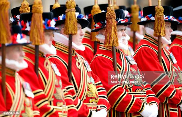 Yeomen of the Guard The Queen's official Bodyguard attend the traditional Royal Maundy service at Leicester Cathedral on April 13 2017 in Leicester...