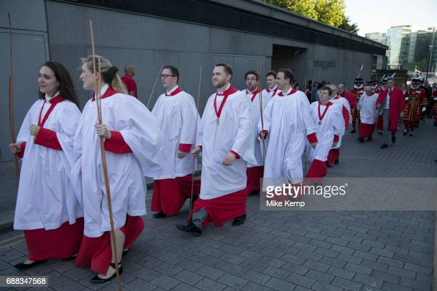 Yeomen Warders also known as Beefeaters from the Tower of London Beating the Bounds on 25th May 2017 in London United Kingdom Beating the Bounds is...