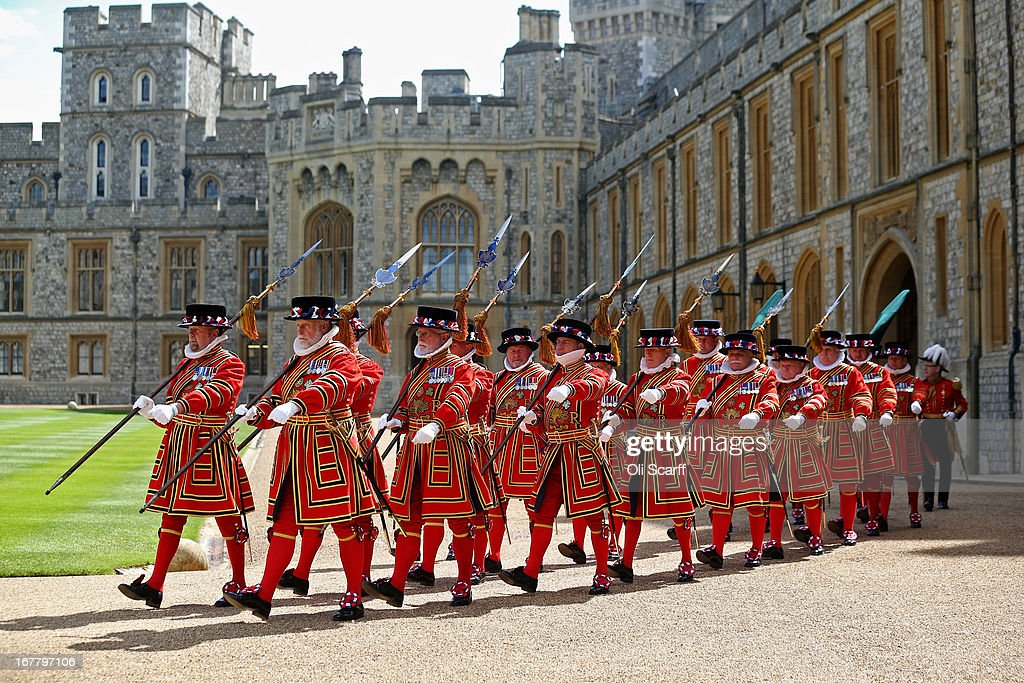 Yeomen Warders march through the Quadrangle of Windsor Castle before the arrival of Queen Elizabeth II and The President of the United Arab Emirates, His Highness Sheikh Khalifa bin Zayed Al Nahyan, on April 30, 2013 in Windsor, England. The President of the United Arab Emirates is paying a two-day State Visit to the United Kingdom, staying in Windsor Castle as the guest of Her Majesty The Queen from April 30, 2013 to May 1, 2013. Sheikh Khalifa will meet the British Prime Minister David Cameron tomorrow at his Downing Street residence.
