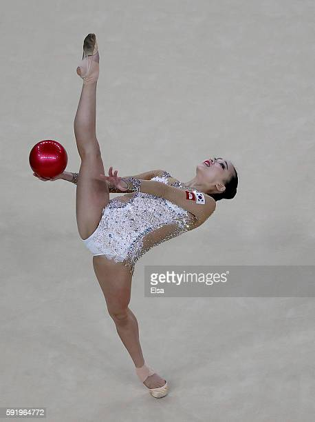 Yeon Jae Son of Korea competes during the Rhythmic Gymnastics Individual AllAround on August 19 2016 at Rio Olympic Arena in Rio de Janeiro Brazil