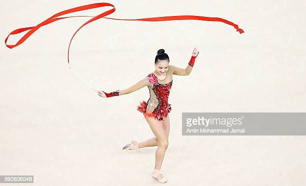 Yeon Jae Son of Korea competes during the Women's Individual AllAround Rhythmic Gymnastics Final on Day 15 of the Rio 2016 Olympic Games at the Rio...