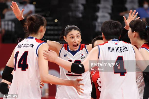 Yeon Koung Kim of Team South Korea celebrates with teammates after the play against Team Serbia during the Women's Bronze Medal Match on day sixteen...