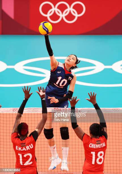 Yeon Koung Kim of Team South Korea competes against Gladys Ekaru Emaniman and Emmaculate Chemtai of Team Kenya during the Women's Preliminary - Pool...