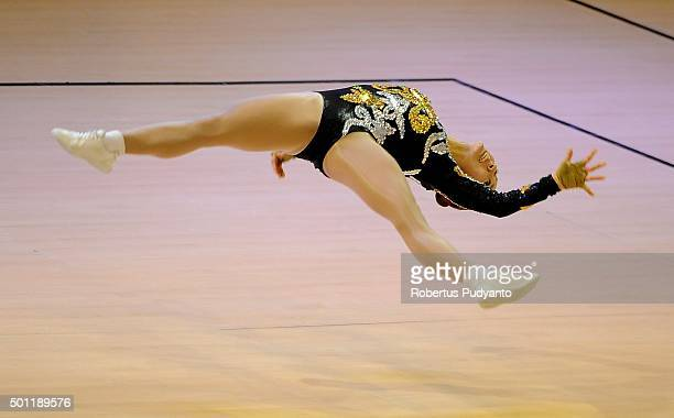 Yeon Sun Park of Korea competes in the FinalSenior Individual Women during the 5th Asian Aerobic Gymnastics Championships at Nguyen Du Culture and...