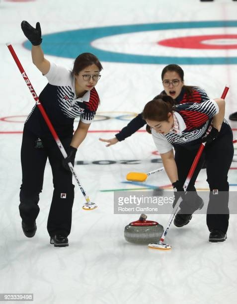 YeongMi Kim KyeongAe Kim and EunJung Kim of Korea compete during the Women's Semi Final match between Korea and Japan on day fourteen of the...