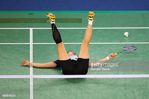 Yeonju Bae of Korea falls to the ground after losing a point in the Women's gold medal match during day three of the 2014 Asian Games at Gyeyang...
