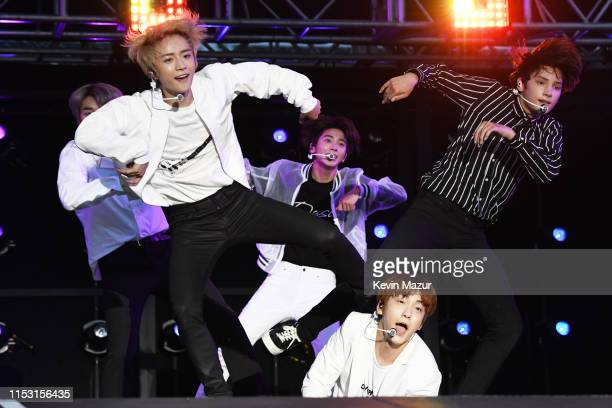 Yeonjun Soobin Beomgyu Taehyun and Huening Kai of Tomorrow X Together perform onstage at 2019 iHeartRadio Wango Tango presented by The JUVÉDERM®...
