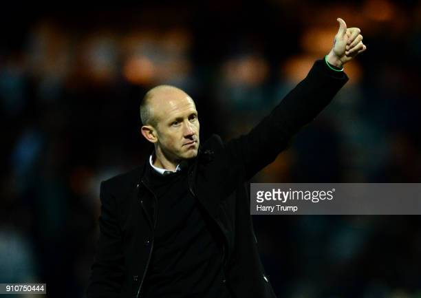 Yeovil Head Coach Darren Way salutes the fans after The Emirates FA Cup Fourth Round match between Yeovil Town and Manchester United at Huish Park on...