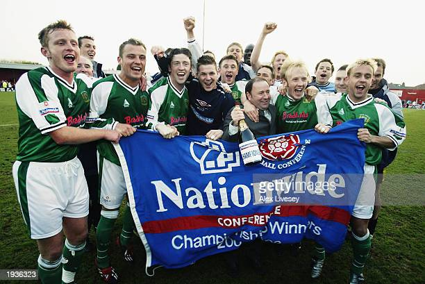 Yeovil Town celebrate winning promotion as champions after the Nationwide Conference League match between Doncaster Rovers and Yeovil Town held on...