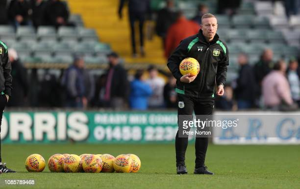 Yeovil Town first team coach Paul Terry looks on during the pre match warm up prior to the Sky Bet League Two match between Yevoil Town and...