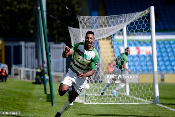 Yeovil Town forward Gold Omotayo celebrates after opening the scoring during the Vanarama National League match between FC Halifax Town and Yeovil...