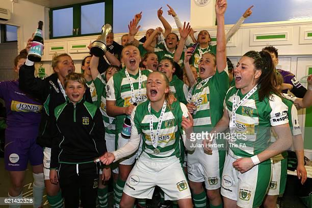 Yeovil Town Ladies celebrate winning WSL 2 after beating Sheffield FC Ladies at Huish Park on November 6, 2016 in Yeovil, England.