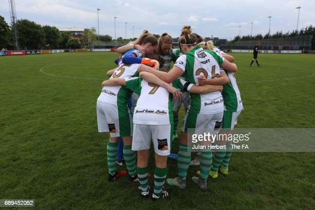 Yeovil Town Ladies gather before the WSL Spring Series Match between Yeovil Town Ladies and Sunderland AFC Ladies at Fairfax Park on May 28, 2017 in...