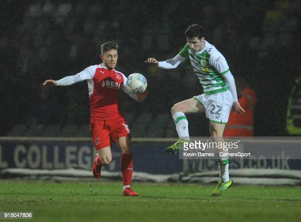 Yeovil Town's Corey Whelan under pressure from Fleetwood Town's Conor McAleny during the Checkatrade Trophy QuarterFinal match between Yeovil Town...