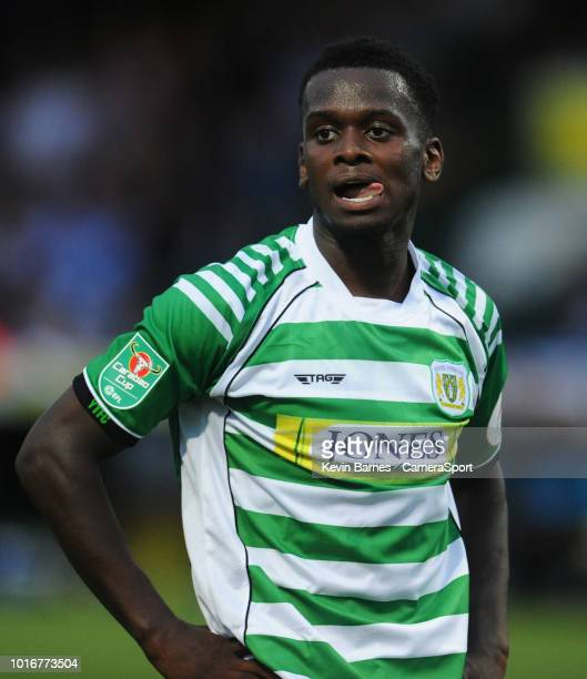 Yeovil Town's Diallang Jaiyesimi looks dejected after missing a chance for his side during the Sky Bet League Two match between Yevoil Town and...