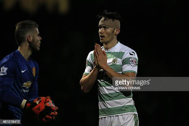 Yeovil Town's English striker Kieffer Moore reacts after missing a chance in front of goal during the English FA Cup third round football match...