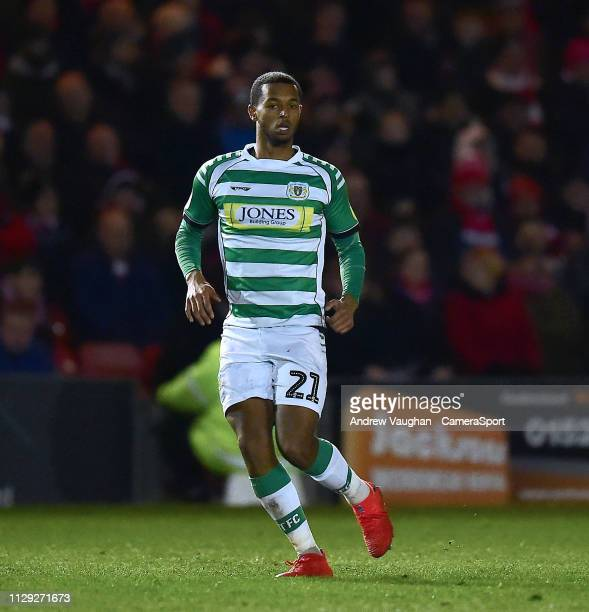 Yeovil Town's Josh Grant during the Sky Bet League Two match between Lincoln City and Yevoil Town at Sincil Bank Stadium on March 8 2019 in Lincoln...