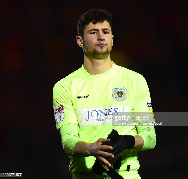 Yeovil Town's Nathan Baxter during the Sky Bet League Two match between Lincoln City and Yevoil Town at Sincil Bank Stadium on March 8 2019 in...