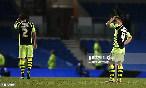 Yeovil's Joe Edwards looks on dejected after being relegated to league one during the Sky Bet Championship match between Brighton Hove Albion and...