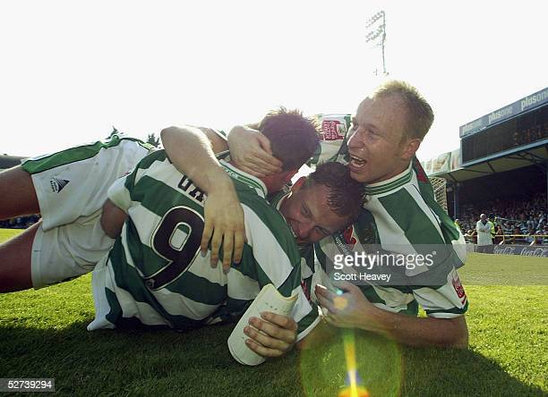 Yeovil's Paul Terry celebrates victory with Kevin Gall and Phil Jevons during the Coca Cola Championship Division Two match between Southend United...
