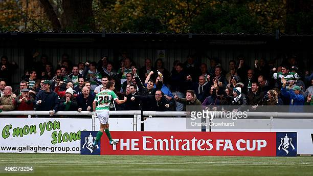 Yeovil's Wes Fogden celebrates after scoring the only goal of the game during the The Emirates FA Cup First Round match between Maidstone United and...