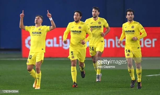 Yeremi Jesus Pino Santos of Villarreal celebrates after scoring his sides first goal during the La Liga Santander match between Villarreal CF and...