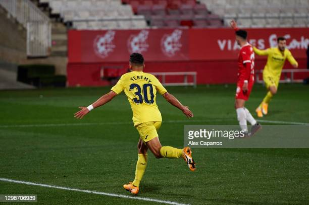 Yeremy Pino of Villarreal CF celebrates after scoring the opening goal during the Copa del Rey round of 16 match between Girona FC and Villarreal CF...