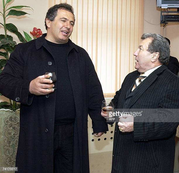 The leader of the Prosperous Armenia party millionaire and former arm wrestling champion of the world Gagik Tsarukian speaks 09 March 2007 with...