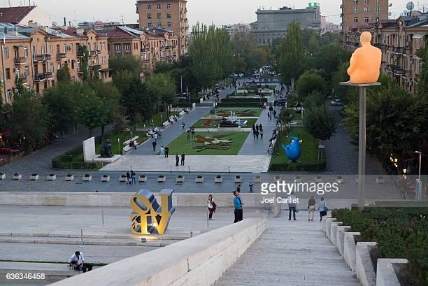 yerevan cascade at dusk in armenia - エレバン ストックフォトと画像