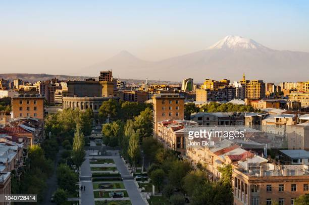 yerevan skyline with mt ararat and the cascade - yerevan stock pictures, royalty-free photos & images
