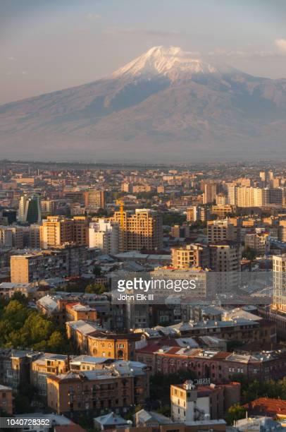 yerevan skyline with mt. ararat - エレバン ストックフォトと画像