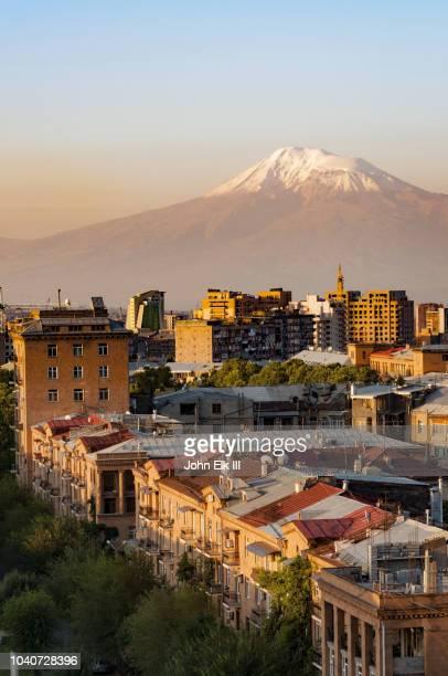yerevan skyline with mt. ararat - yerevan stock pictures, royalty-free photos & images