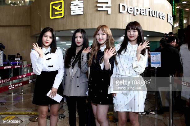 Yeri Irene Wendy and Seulgi of South Korean girl group Red Velvet departure to North Korea at Gimpo airport on March 31 2018 in Seoul South Korea...