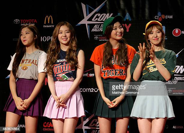 Yeri Wendy Seulgi and Irene of South Korean girl group Red Velvet attend KCON 2015 at the Los Angeles Convention Center on August 2 2015 in Los...