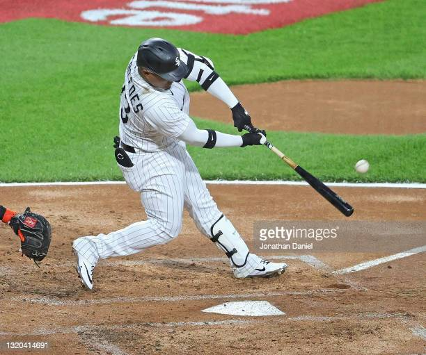 Yermin Mercedes of the Chicago White Sox hits a solo home run in the 2nd inning against the Baltimore Orioles at Guaranteed Rate Field on May 27,...