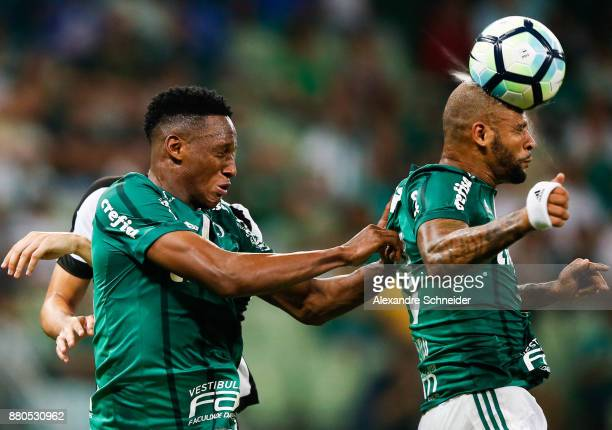 Yerry Mina and Felipe Melo of Palmeiras in action during the match against Botafogo for the Brasileirao Series A 2017 at Allianz Parque Stadium on...