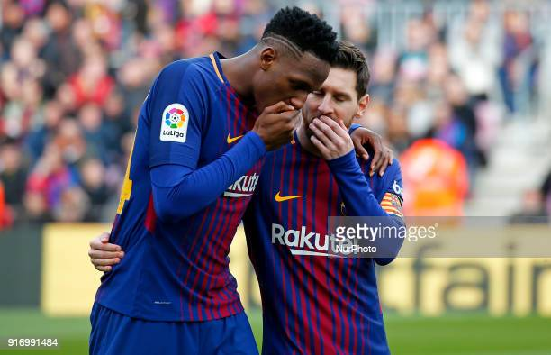 Yerry Mina and Leo Messi during the match between FC Barcelona and Getafe CF for the round 23 of the Liga Santander played at the Camp Nou Stadium on...