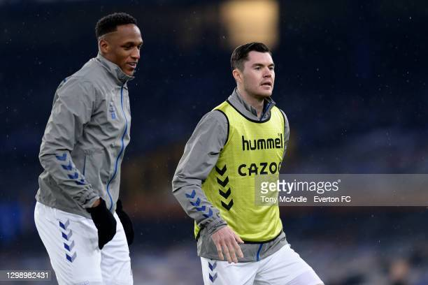 Yerry Mina and Michael Keane of Everton warm up before the Premier League match between Everton and Leicester City at Goodison Park on January 27...