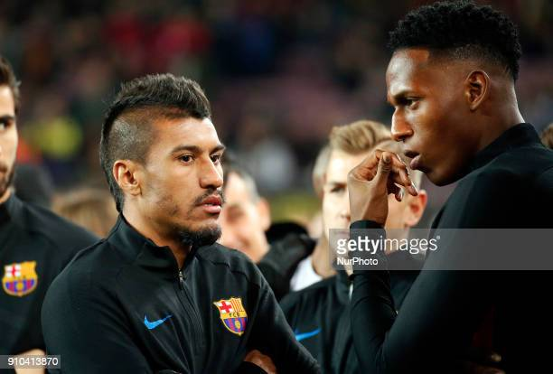 Yerry Mina and Paulinho Bezerra during the Copa del Rey match between FC Barcelona and RCD Espanyol played in Barcelona on January 25 2018